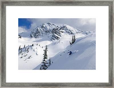 Skier Shredding Powder Below Nak Peak Framed Print by Kurt Werby