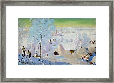 Skiers Framed Print by Boris Mikhailovich Kustodiev