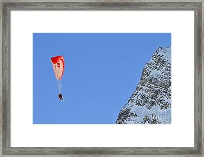 Skiers Paragliding Framed Print by Sami Sarkis
