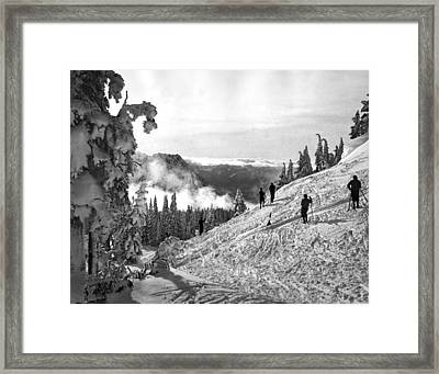 Skiers Practice For Olympics Framed Print by Underwood Archives