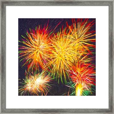 Skies Aglow With Fireworks Framed Print