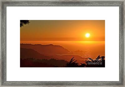 Skies Of Gold At Pedro Point Framed Print