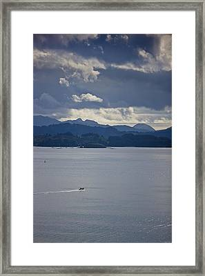 Skiff Off The Shore Of Kodiak Island Framed Print by Kevin Smith
