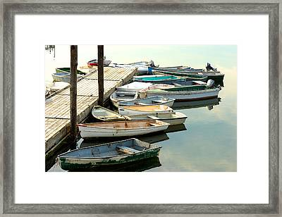 Skiffs  Cape Porpoise Maine Framed Print by Gail Maloney