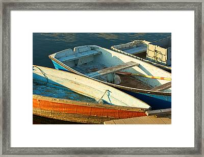 Skiffs Rockport Harbor Framed Print by Gail Maloney