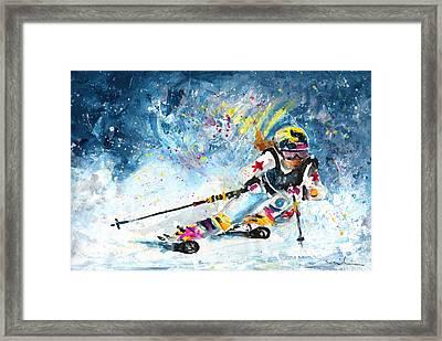 Skiing 03 Framed Print by Miki De Goodaboom