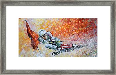 Skiing 07 Framed Print by Miki De Goodaboom