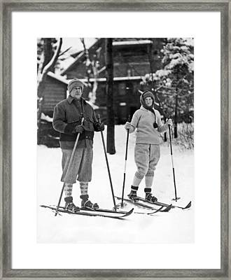 Skiing At Lake Placid In Ny Framed Print by Underwood Archives