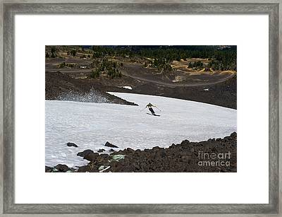 Skiing Bachelor In August Framed Print by Jackie Follett
