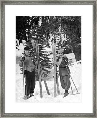 Skiing Badger Pass In Yosemite Framed Print by Underwood Archives