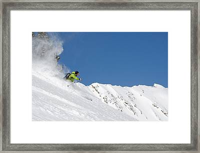 Skiing Fresh Powder On Little Superior Framed Print by Howie Garber
