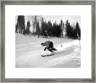 Skiing Hill 70 At St. Sauveur Framed Print by Underwood Archives