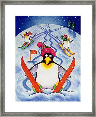 Skiing Holiday Framed Print by Cathy Baxter