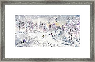 Skiing In The Dolomites In Italy 01 Framed Print by Miki De Goodaboom