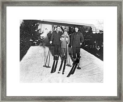 Skiing In Harrods Store Framed Print by Underwood Archives