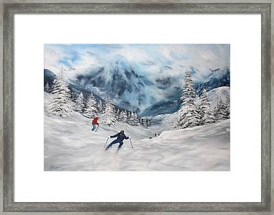Framed Print featuring the painting Skiing In Italy by Jean Walker