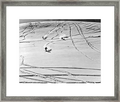 Skiing In Jasper National Park Framed Print by Underwood Archives