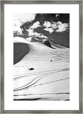 Skiing In The Canadian Rockies Framed Print by Underwood Archives