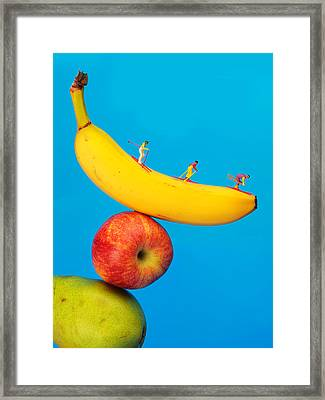 Skiing On Banana Miniature Art Framed Print by Paul Ge