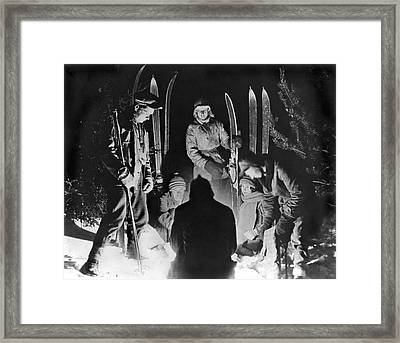 Skiing Party Camps In Siberia Framed Print by Underwood Archives