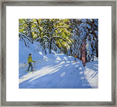 Skiing Through The Woods  La Clusaz Framed Print