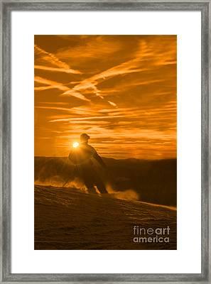 Skiing West Virgina Sunset Framed Print by Dan Friend