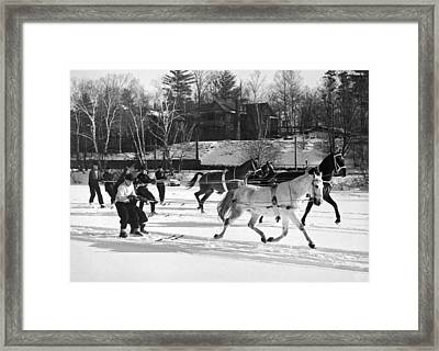 Skijoring At Lake Placid Framed Print by Underwood Archives