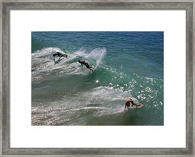 Skim Boarders Framed Print