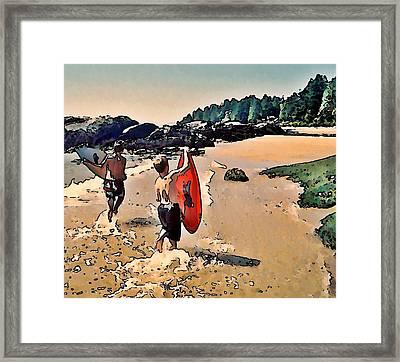 Skim Boarders Framed Print by Stanley  Funk