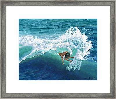 Skimboard Surfer Framed Print by Alice Leggett