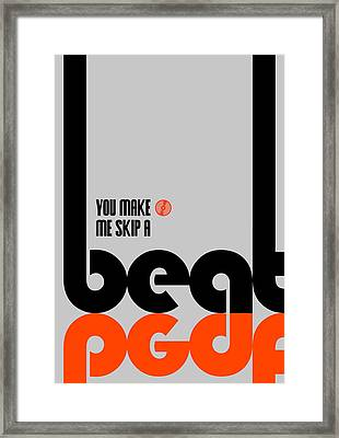 Skip A Beat Poster Framed Print by Naxart Studio