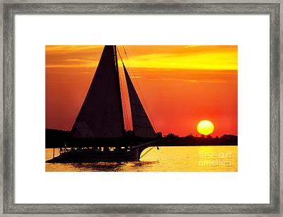 Skipjack At Sunset Framed Print