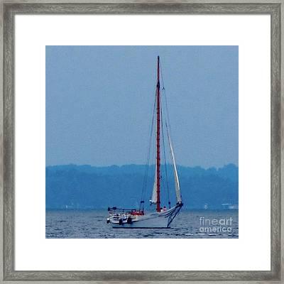 Skipjack Mast Lowering On The Bay Framed Print by Debbie Nester