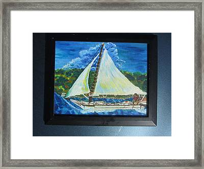 Skipjack Nathan Of Dorchester Famous Sailboat At Sea Framed Print by Debbie Nester