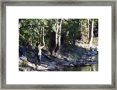 Skipping Stones Impressionist Fall Series #4  Framed Print by Sharon McLain