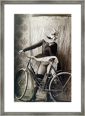 Skirt Up Bicycle Rider Framed Print