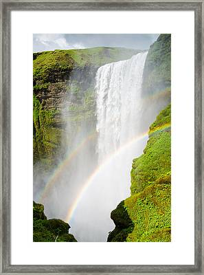 Skogafoss Waterfall In Iceland With Two Rainbows Framed Print by Matthias Hauser