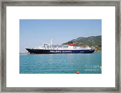 Skopelos Ferry Arrival Framed Print by David Fowler