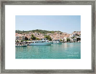 Skopelos Harbour Greece Framed Print