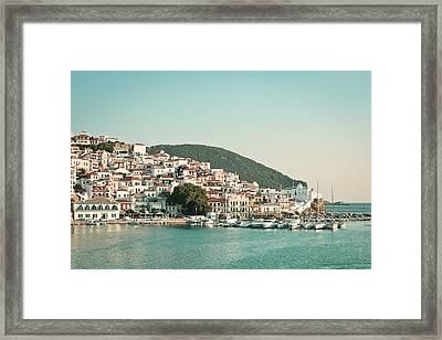 Skopelos Harbour Framed Print by Tom Gowanlock
