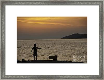 Skopelos Sunset - Fisher Boy - 1 Framed Print