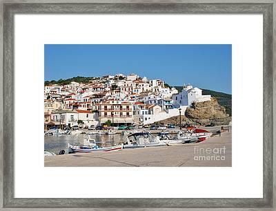 Skopelos Town Harbour Greece Framed Print