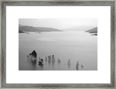 Framed Print featuring the photograph Skc 0055 A Hazy Riverscape by Sunil Kapadia
