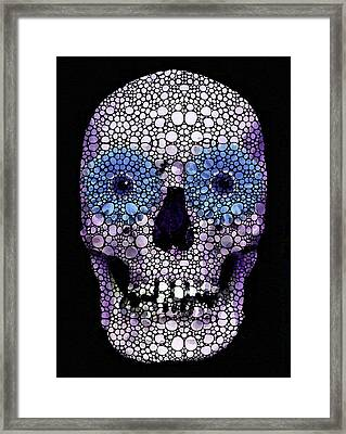 Skull Art - Day Of The Dead 2 Stone Rock'd Framed Print by Sharon Cummings