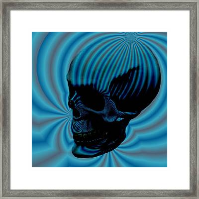 Skull Aura Blue Framed Print by Jason Saunders