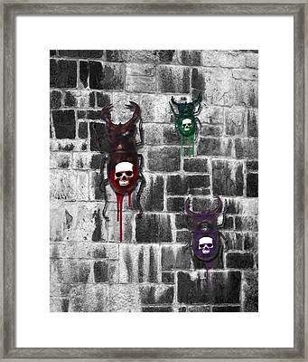 Skull Backed Beatles Framed Print by Diana Shively