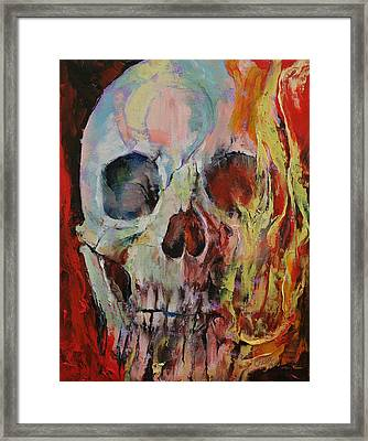 Skull Fire Framed Print by Michael Creese