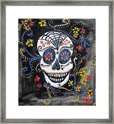 Skull Flowers Framed Print