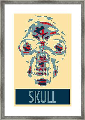 Skull In Negative Hope Framed Print