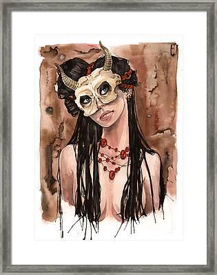 Skull Mask Framed Print by Carla Wyzgala